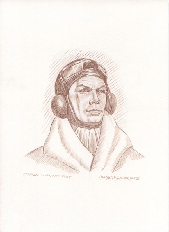Original Sepia Drawing A4 ~ Biggles Spitfire Pilot